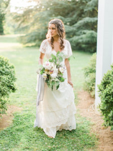 organic ethereal bridal portraits with wild earthy bouquet