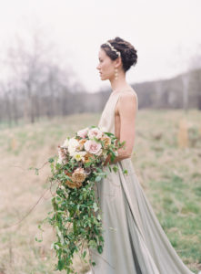 The Retreat at Cool Springs Michael and Carina Photography bridal bouquet cascading blush pink gold roses ranunculus daffodils