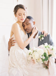 Intimate Bride and Groom portrait with classic details and muted tones