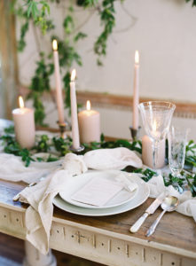 Organic and Romantic tablescape with trailing vines and muted details