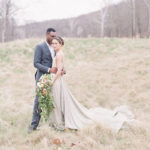 romantic and Organic trailing bouquet to create a romantic outdoor bride and groom portrait
