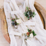 romantic and Organic boutonnieres with local textures and hellebores.