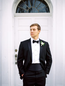 Classic groom portrait with organic boutonniere