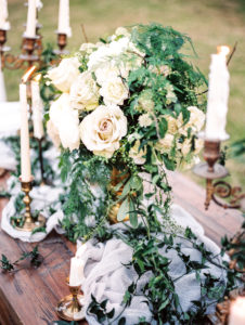 Romantic french centerpiece inspiration for outdoor wedding