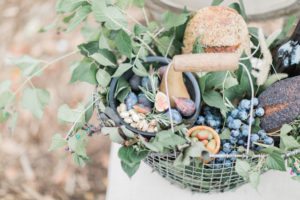Styled fruit and bread basket for a garden elopement at River Farm Virginia