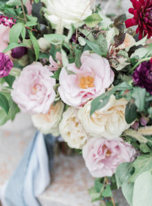 Flower detail image of large summer garden wedding inspired bridal bouquet