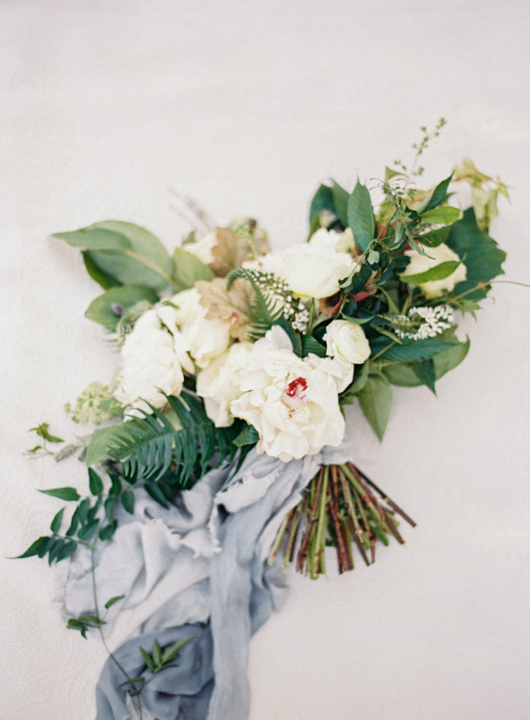Stylized bridal bouquet with silk ribbon