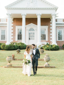 romantic and ethereal bride and groom portraits at Whitehall in Annapolis