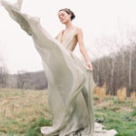 romantic bridal with organic movement in gown