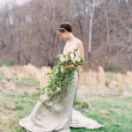 romantic bridal portrait with cascading bouquet