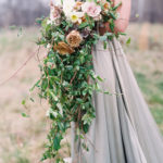 romantic bridal bouquet with organic textures and blooms