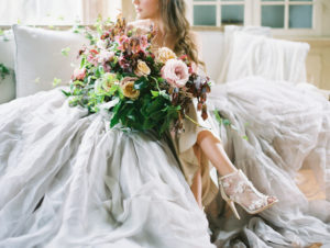 oversized bridal bouquet with dramatic Carol Hannah dress and Bella Bella shoes