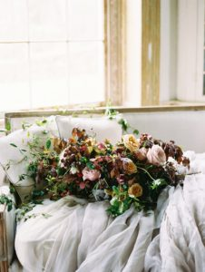 oversized organic bridal bouquet with garden roses, hellebores and fritillaria