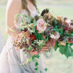 engagement with oversized organic bouquet
