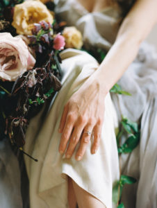 bridal style featuring an oversized organic bouquet and Suzie Saltzman ring