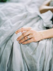 Suzie Saltzman ring and Carol Hannah gown for styled engagement