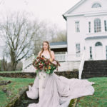 styled engagement portraits with oversized organic bouquet and Carol Hannah gown
