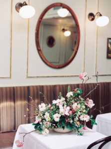 floral centerpiece for intimate elopement at Chez Billy