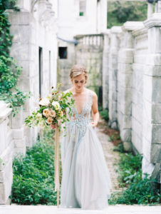 bridal portraits with bridal bouquet wild and organic garden roses