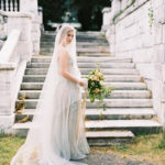 bridal gown portraits with wild organic bouquet and veil