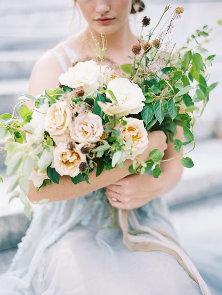 Detail image of organic bridal bouquet with garden roses and vines