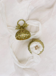 feminine bridal jewelry from Trumpet and Horn in antique ring box achieve a luxe look