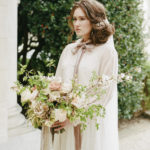 Luxe feminine bridal style with lush organic spring bridal bouquet