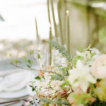 lush, luxe, feminine floral centerpiece and candlesticks
