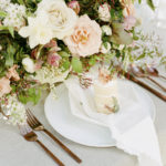 feminine lush luxe spring centerpiece with personal cake as escort card
