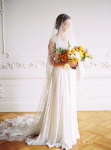 Parisian femininity bridal style with oversized spring bouquet