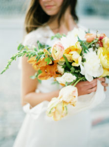 spring Parisian femininity bridal bouquet with vibrant spring flowers