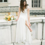 Parisian femininity bridal style portraits with bridal bouquet
