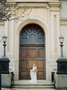 Parisian femininity bridal portraits with spring bouquet