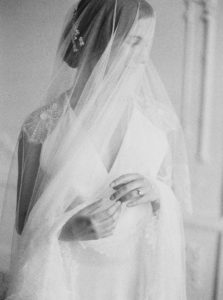Parisian femininity bridal style with veil portrait