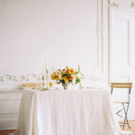 Parisian femininity tablescape with vibrant spring floral centerpiece