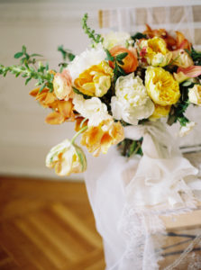 Parisian femininity spring bouquet with silk ribbons