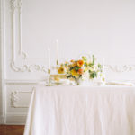 Parisian femininity tablescape with lush vibrant spring centerpiece