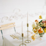 Parisian femininity wedding tablescape with lush floral centerpiece in Baltimore, Maryland