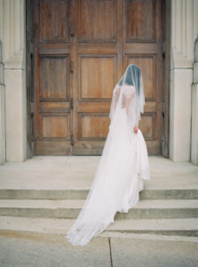 Parisian femininity bridal portrait with veil