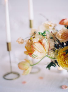 Parisian femininity detail shot of floral centerpiece on tablescape