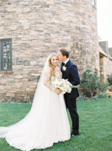 bride and groom portraits with monochromatic bouquet at Kestrel Park, California