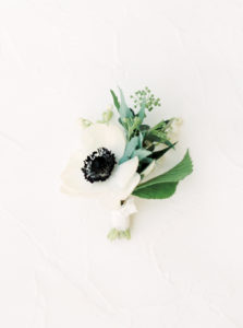 organic boutonniere for modern california black tie wedding