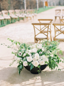 modern organic large ceremony arrangements in Santa Ynez California at Kestrel Park