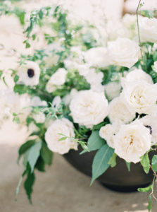 floral detail of modern black tie California wedding